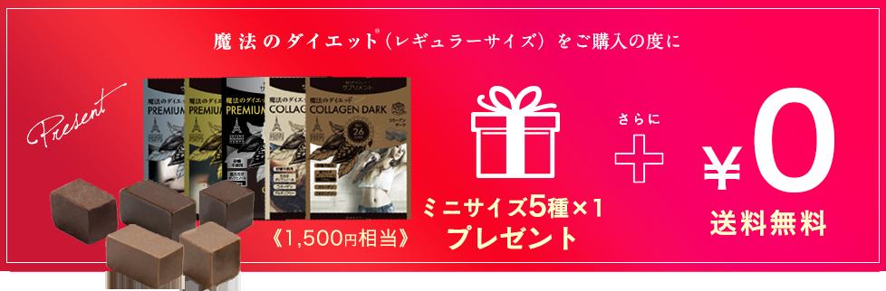 「魔法のダイエット®」ミニサイズ5種プレゼント+送料無料