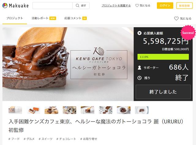 【ヘルシーガトーショコラ 魔法のガトーショコラ 麗(URURU)先行発売】クラウドファンディングMakuake達成率1119%で終了いたしました